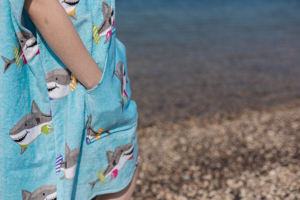 Beach poncho shark design