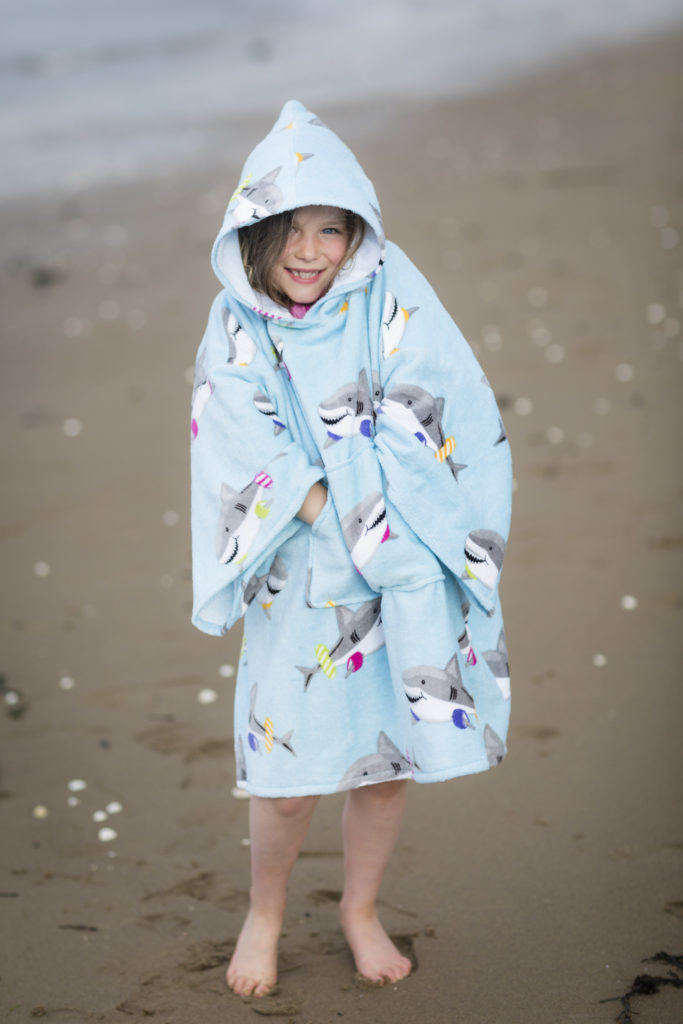 beach poncho with sharks