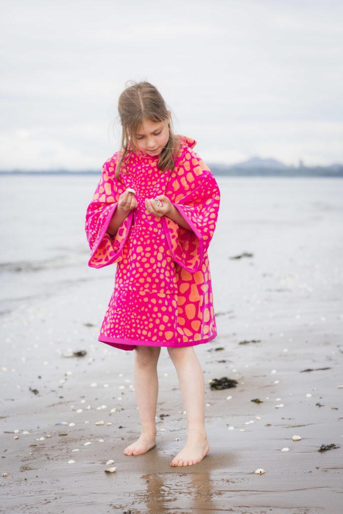 beach poncho red and orange crocodile skin