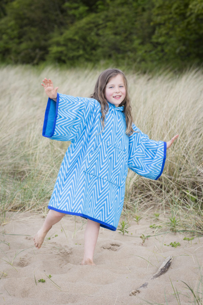 beach poncho in blue and turquoise