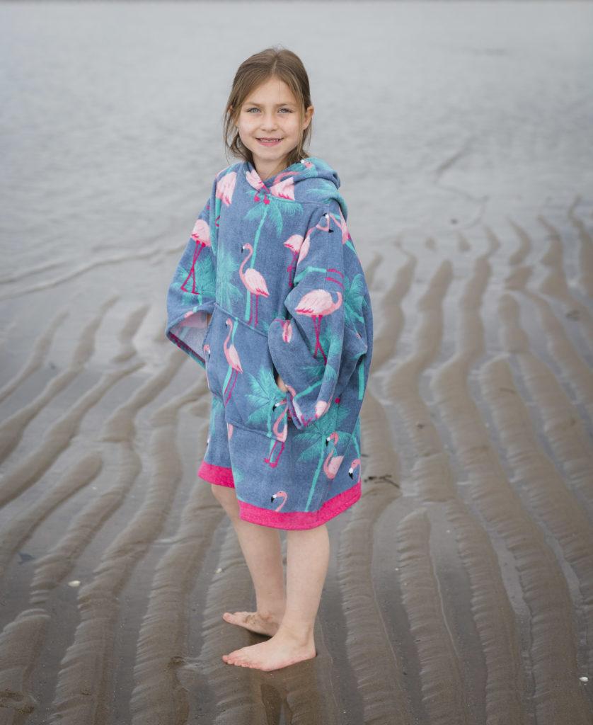 flamingo design beach poncho
