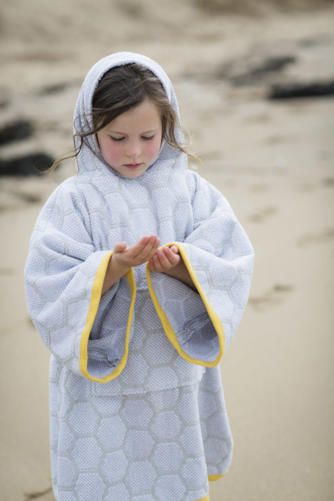 changing robe in grey and yellow