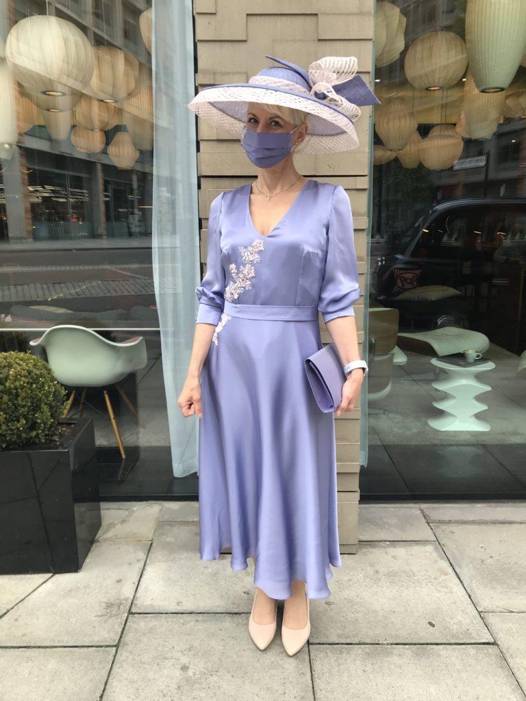 silk satin chiffon dress for royal enclosure