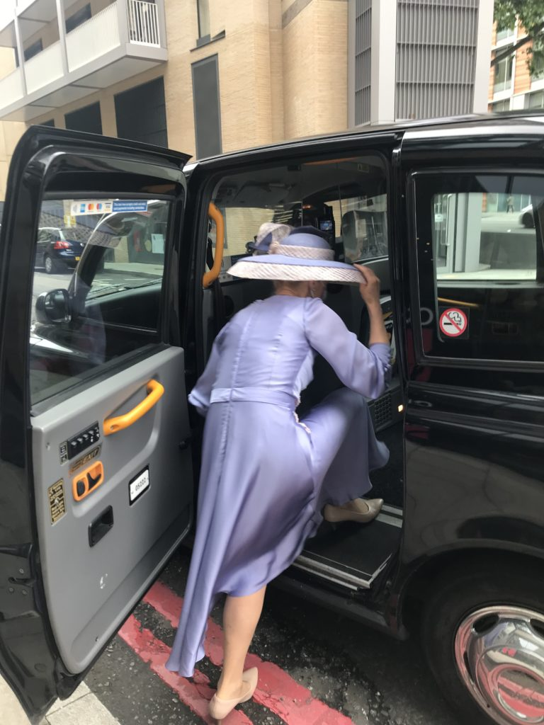 royal ascot outfit doesnt fit in taxi