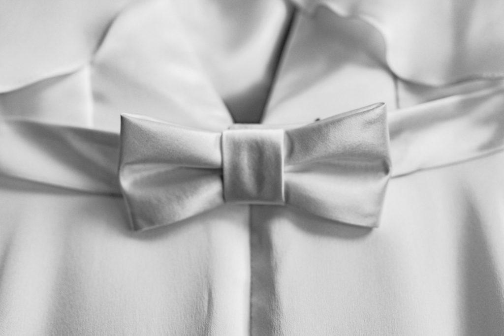 silk wedding dress bow detail