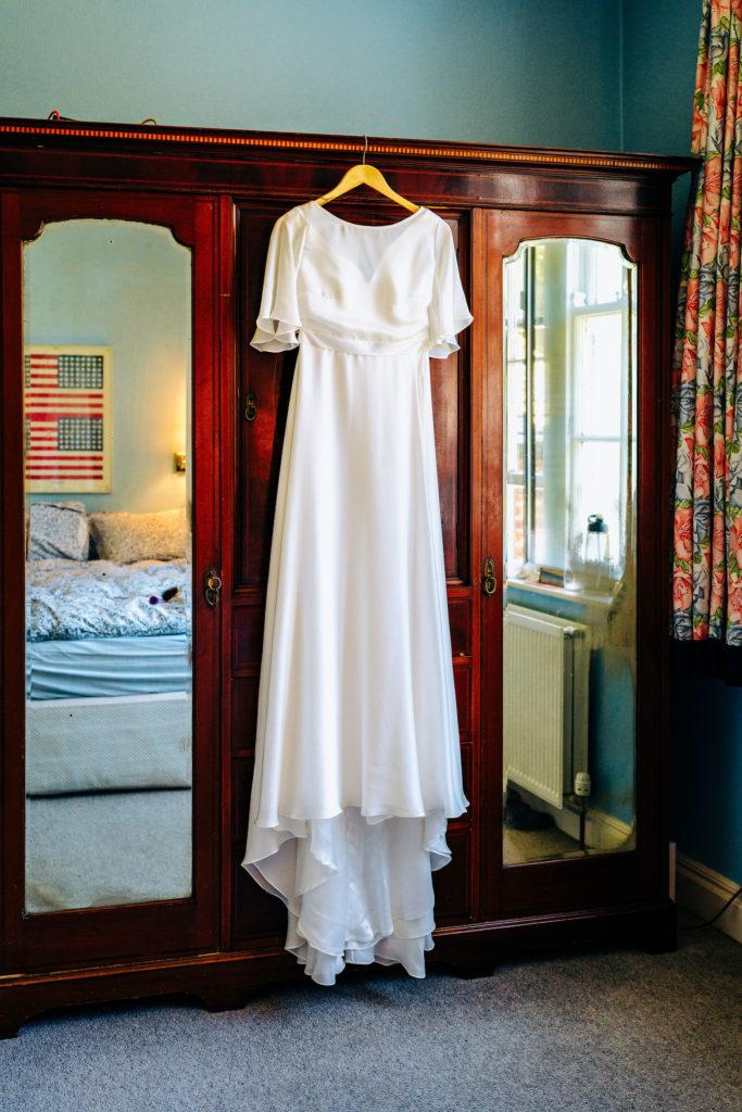 silk wedding dress for lake district garden wedding