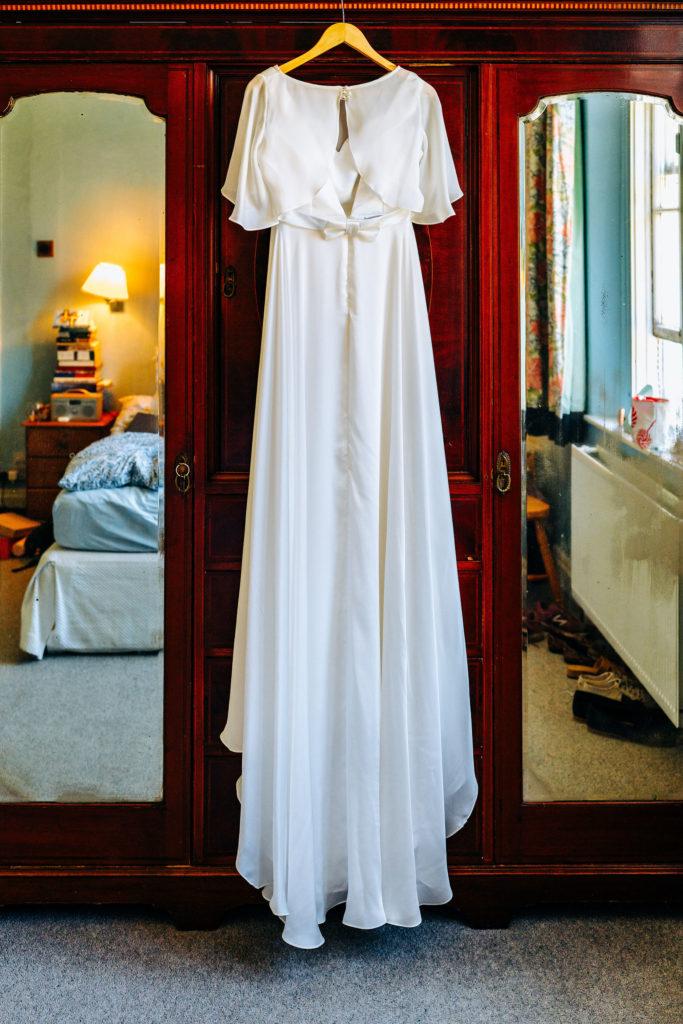 silk wedding dress back view