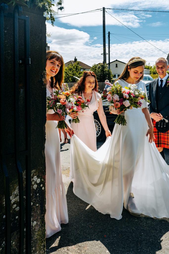 silk wedding dress for lake district wedding