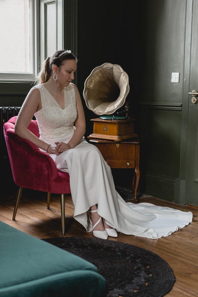 wedding dress with silk veiling bodice and embellishment