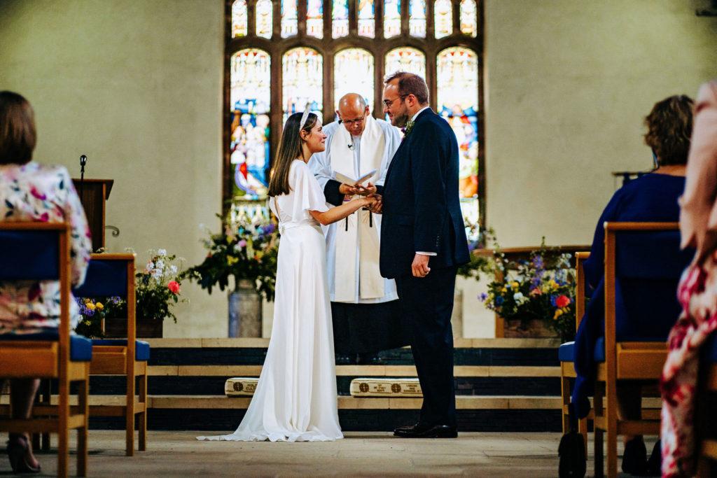 silk wedding dress, church ceremony