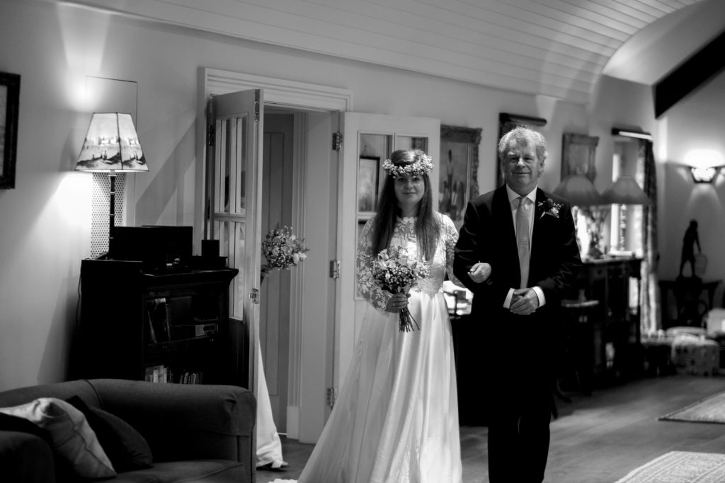 micro wedding father and bride