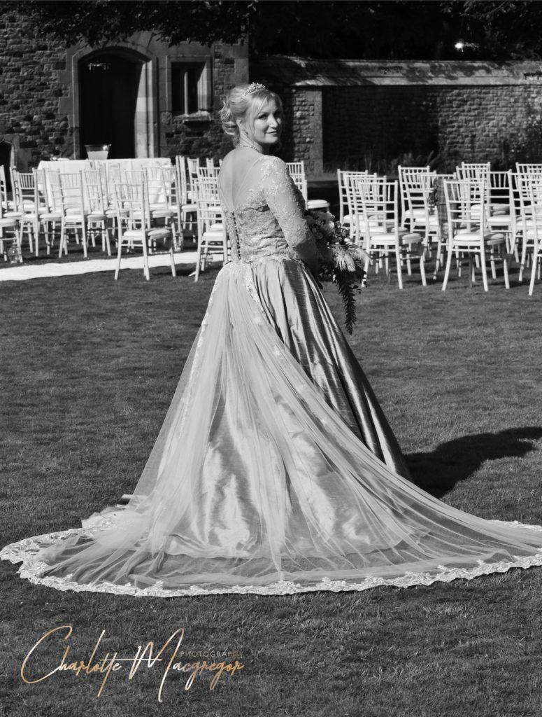 soft blue wedding dress with embellishment