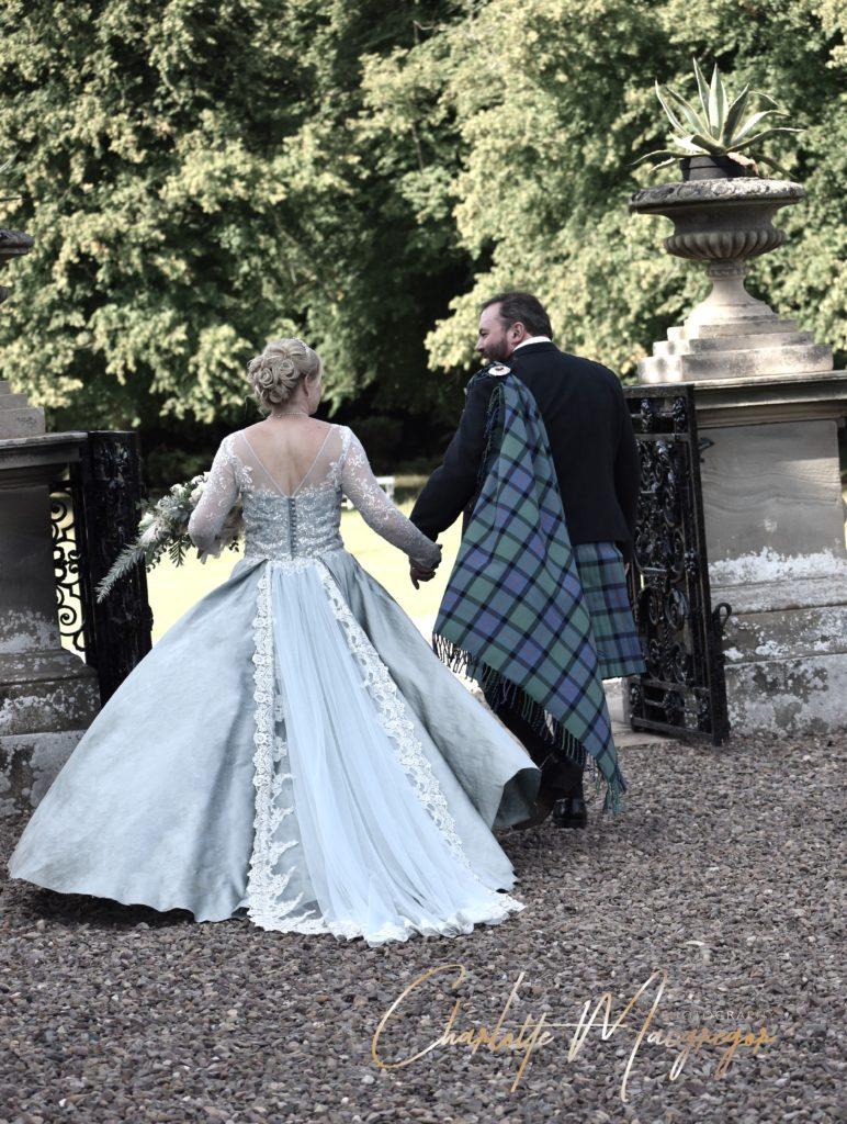 Soft Blue Wedding Dress Back view