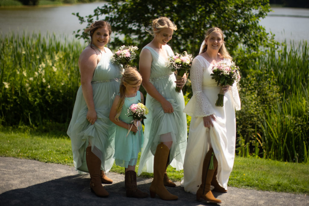 booted bride and bridesmaids