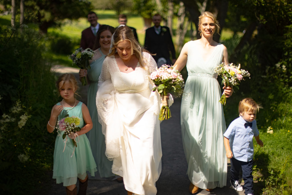 bride at summer wedding