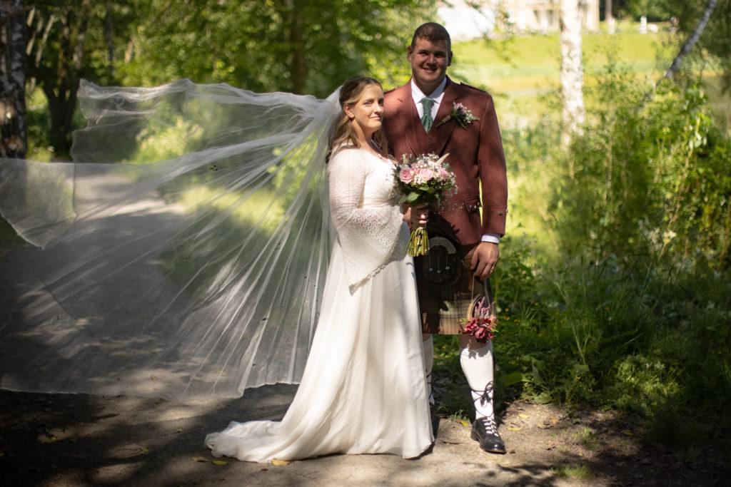 Antique veil for Scottish garden wedding