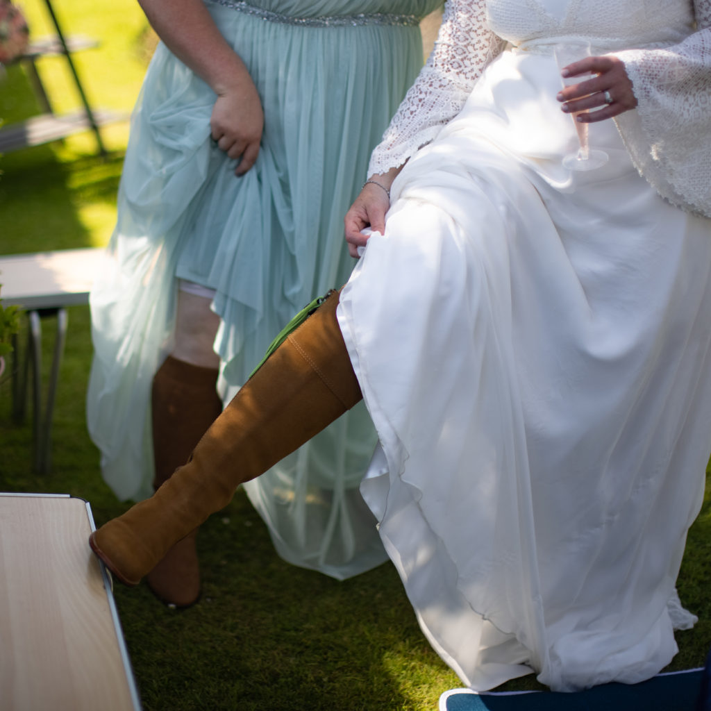 bride with boots
