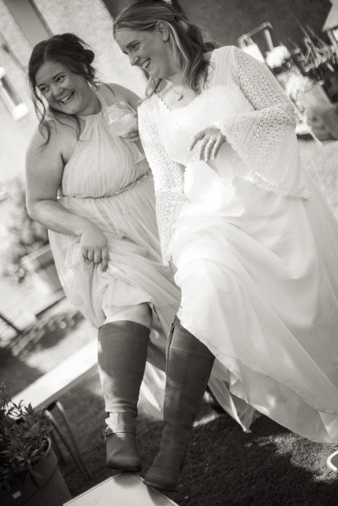 Bride and bridesmaids with boots