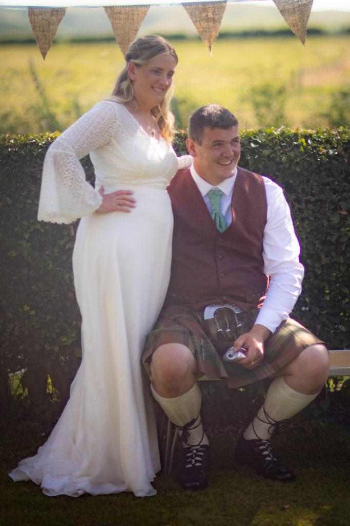 Bride and groom at scottish wedding