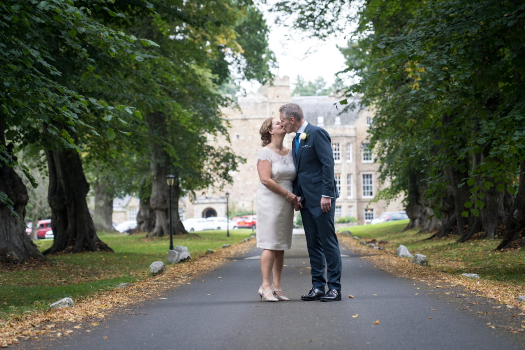 bride and groom at carberry tower
