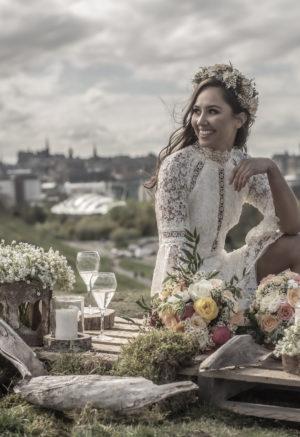 Short guipure wedding dress