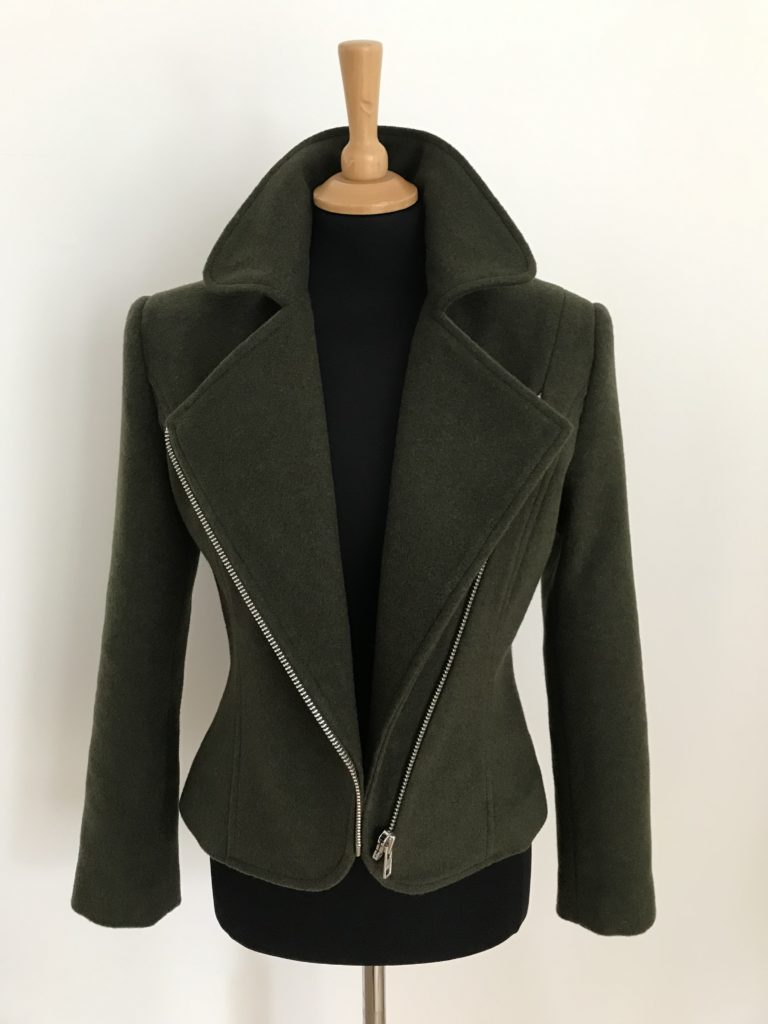 wool and cashmere biker jacket with stand up collar