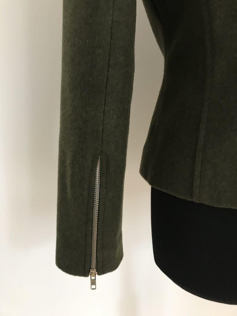 biker jacket with zip detail on sleeves