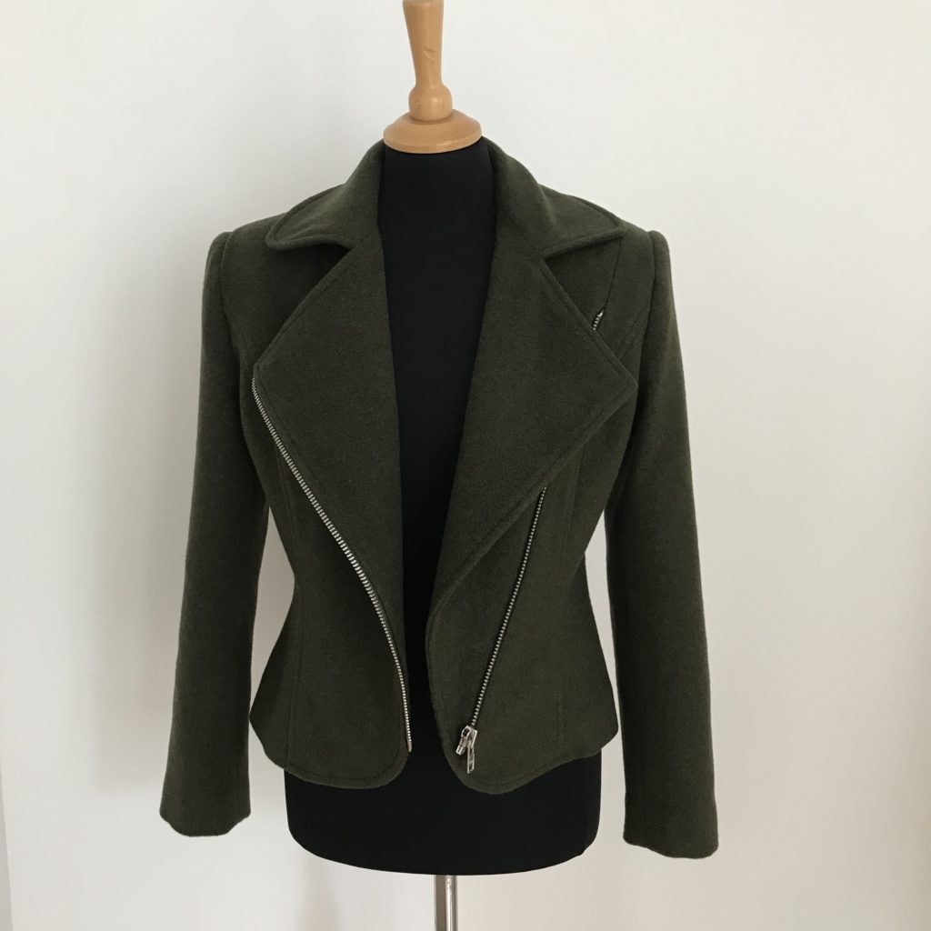 wool jacket with silver zip details